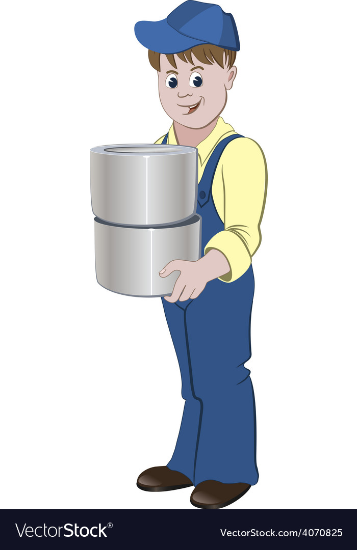 Painter standing with the pile of buckets vector | Price: 1 Credit (USD $1)