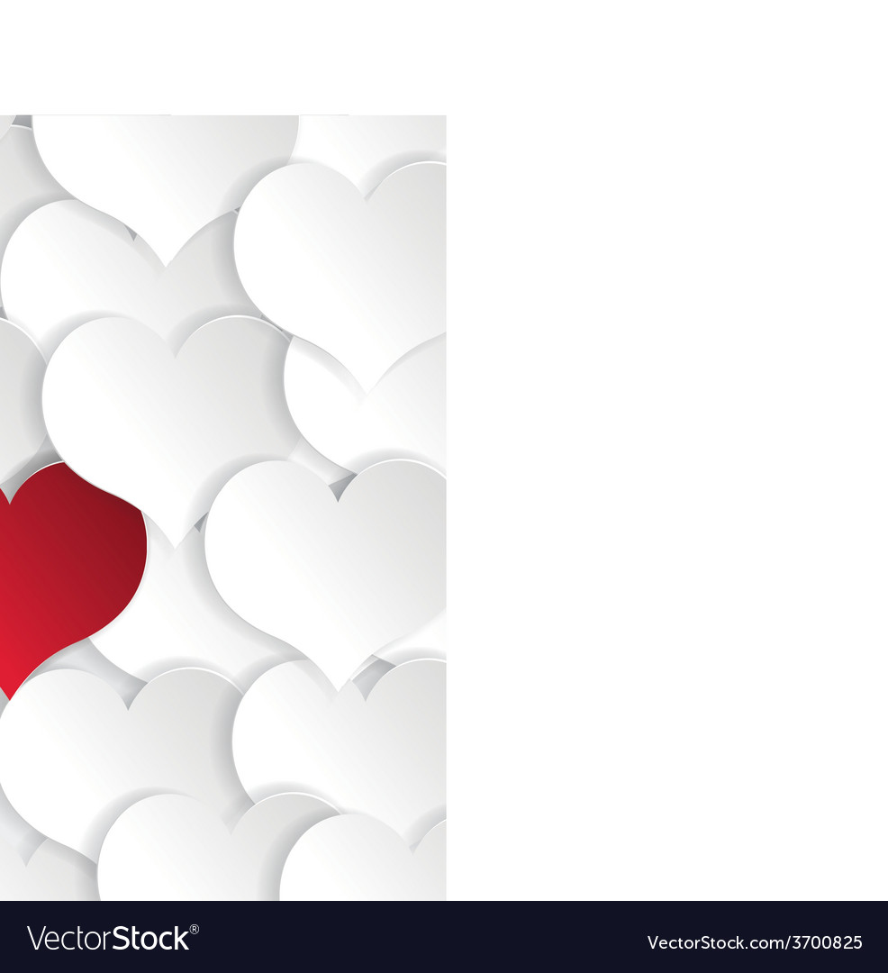 Paper hearts background with alone red heart vector | Price: 1 Credit (USD $1)