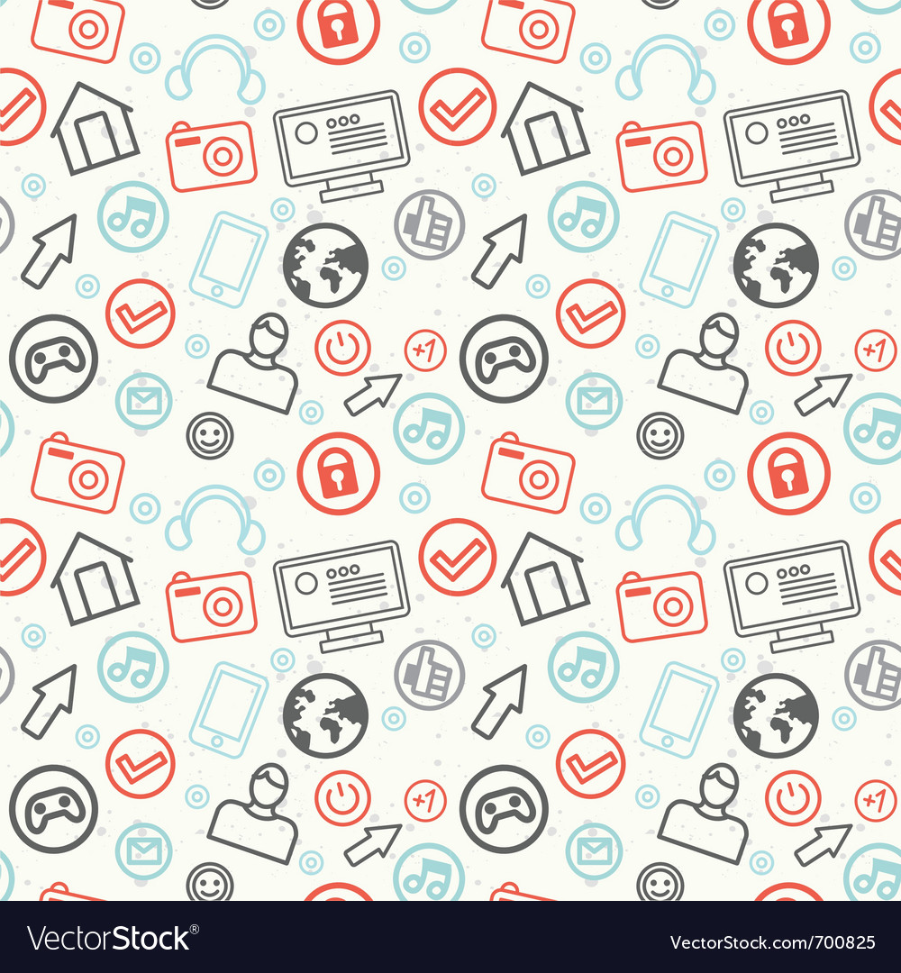 Social media and internet seamless pattern - vector | Price: 1 Credit (USD $1)