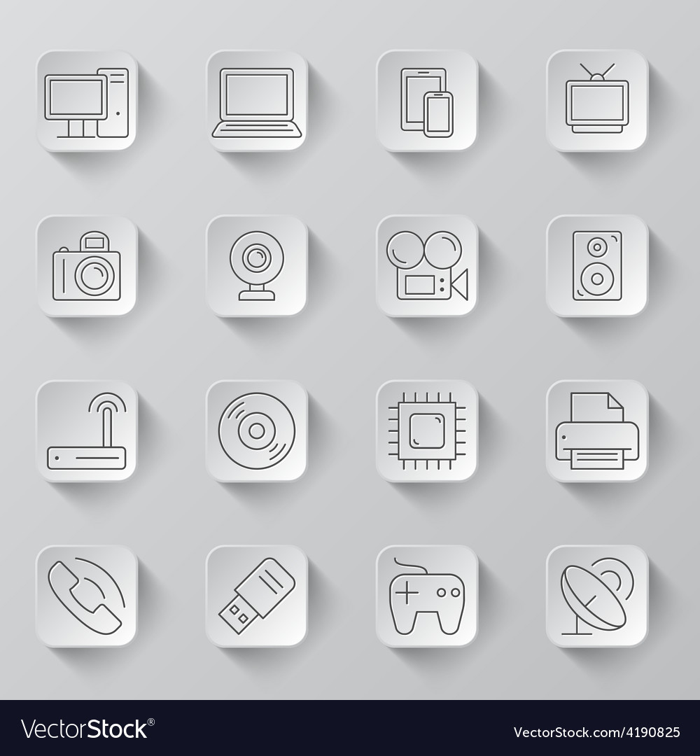 Technology and electronics icons vector | Price: 1 Credit (USD $1)