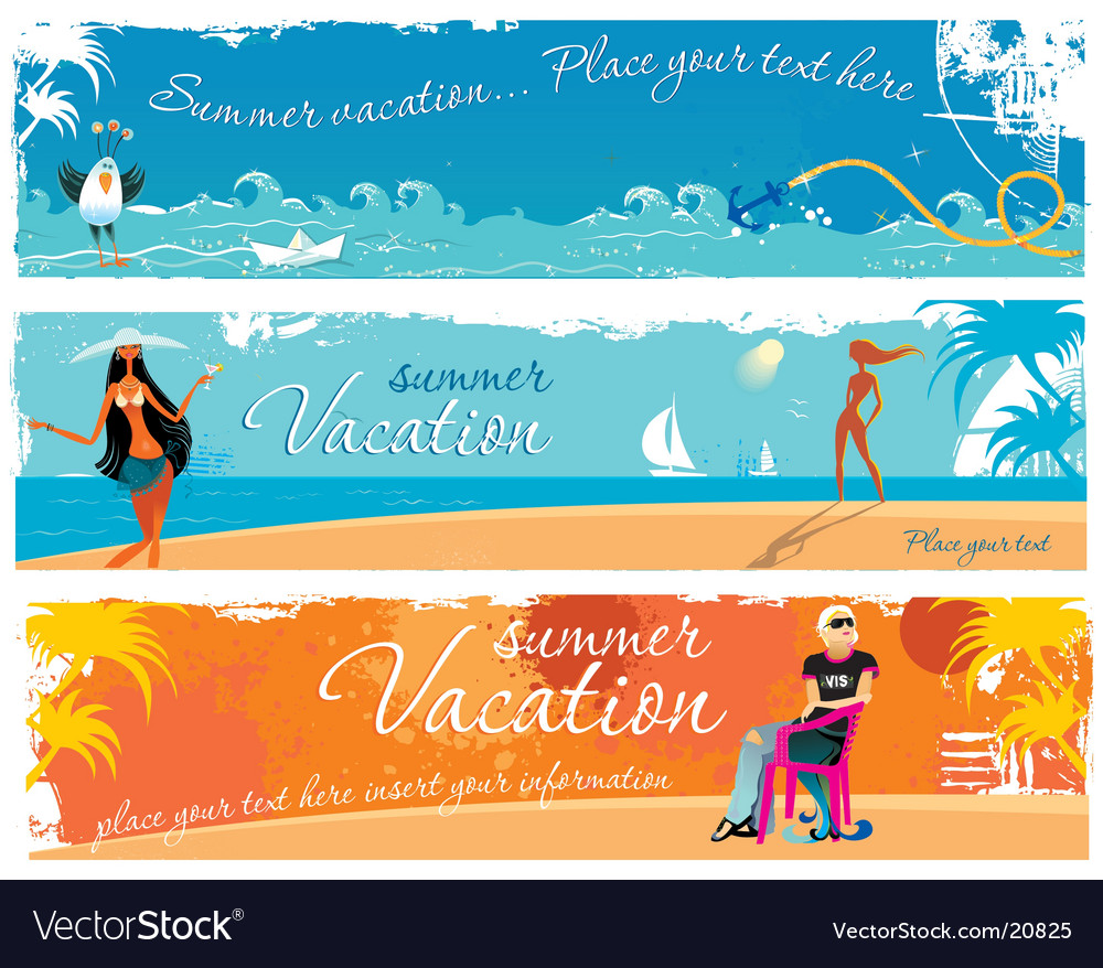 Vacation girls banners vector | Price: 3 Credit (USD $3)