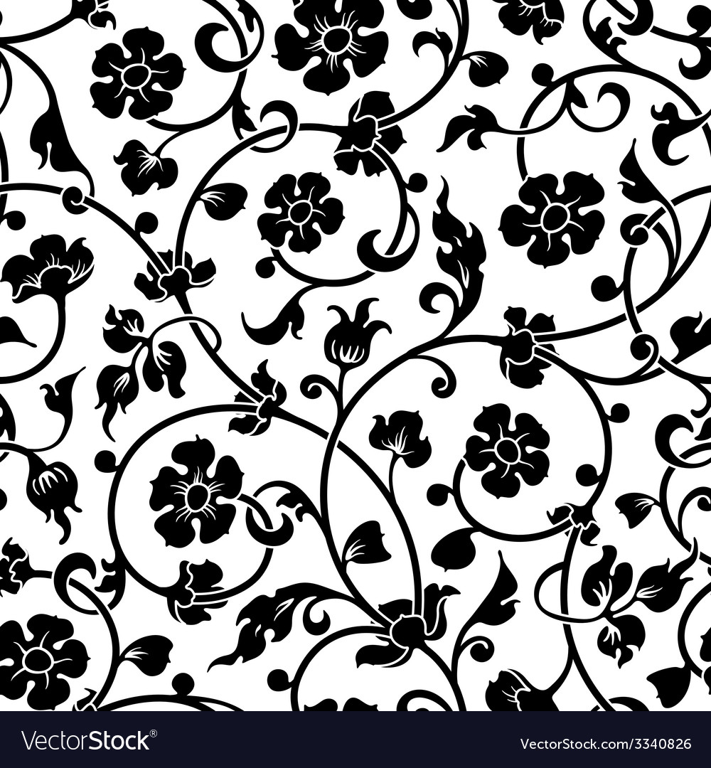 Abstract flowers baroque seamless pattern vector | Price: 1 Credit (USD $1)