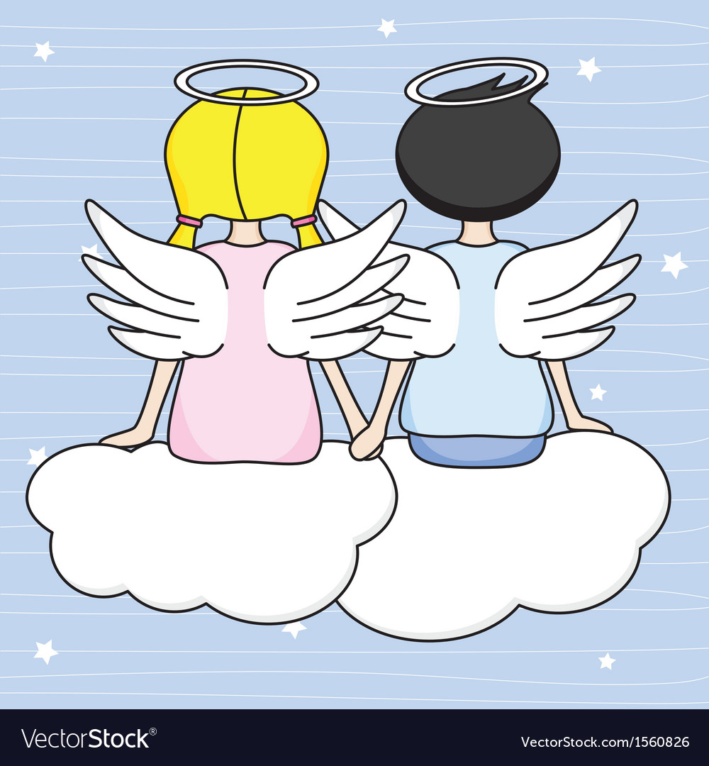 Angels sitting above the clouds vector | Price: 1 Credit (USD $1)