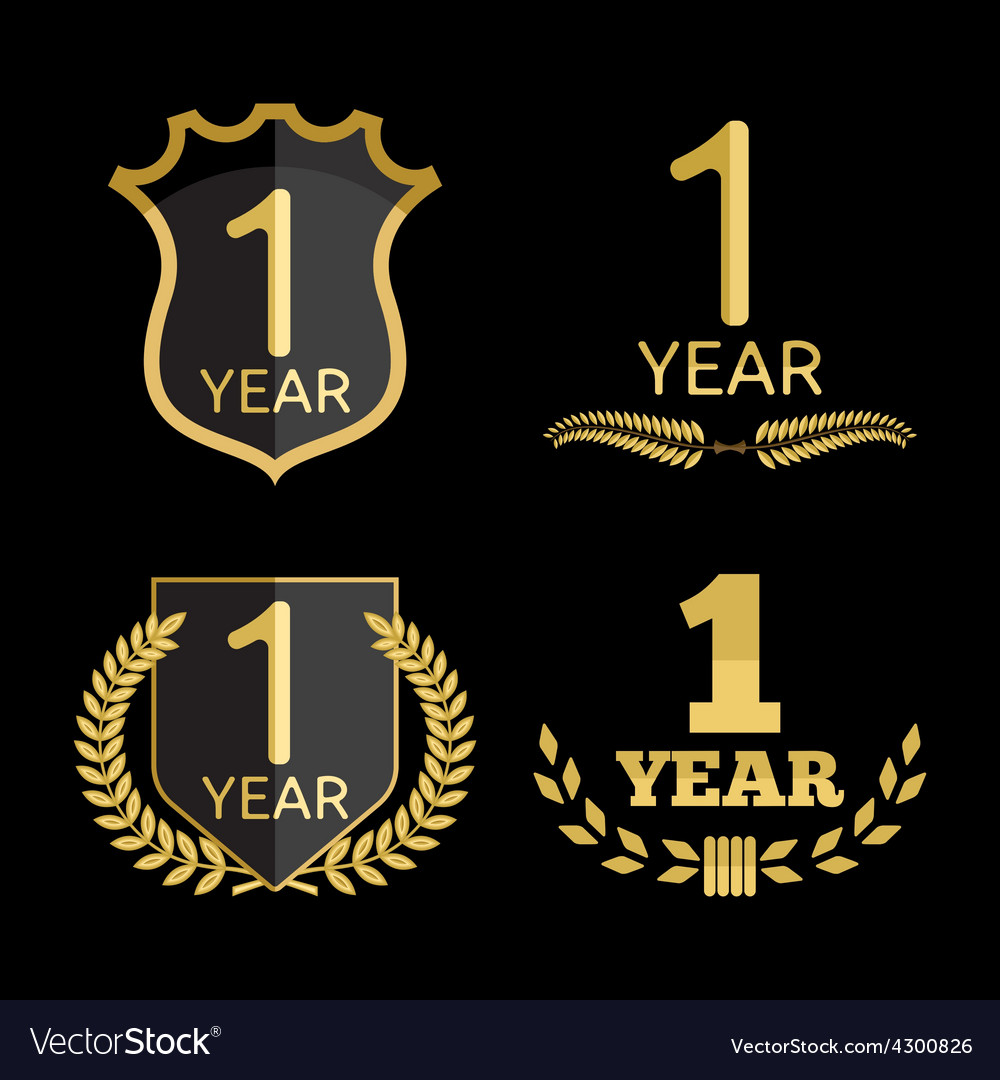 Anniversary set 1 year resize vector | Price: 1 Credit (USD $1)