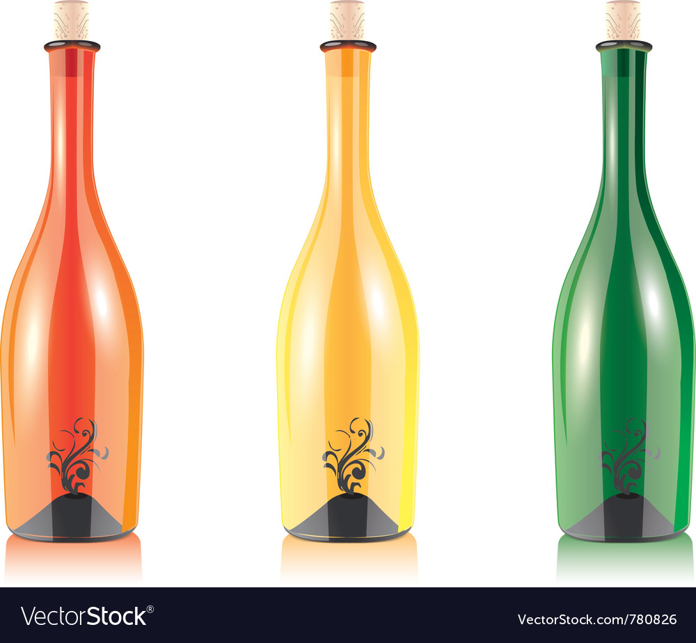 Assorted empty wine bottles vector | Price: 1 Credit (USD $1)