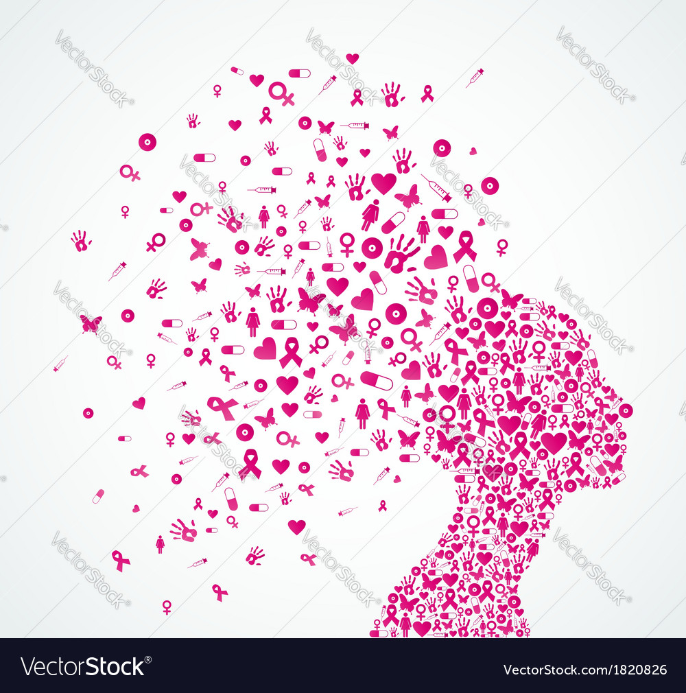 Breast cancer awareness ribbon woman head vector | Price: 1 Credit (USD $1)