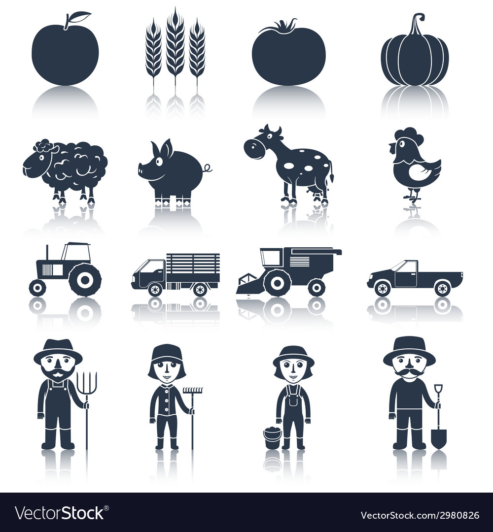 Farm icons set black vector | Price: 1 Credit (USD $1)