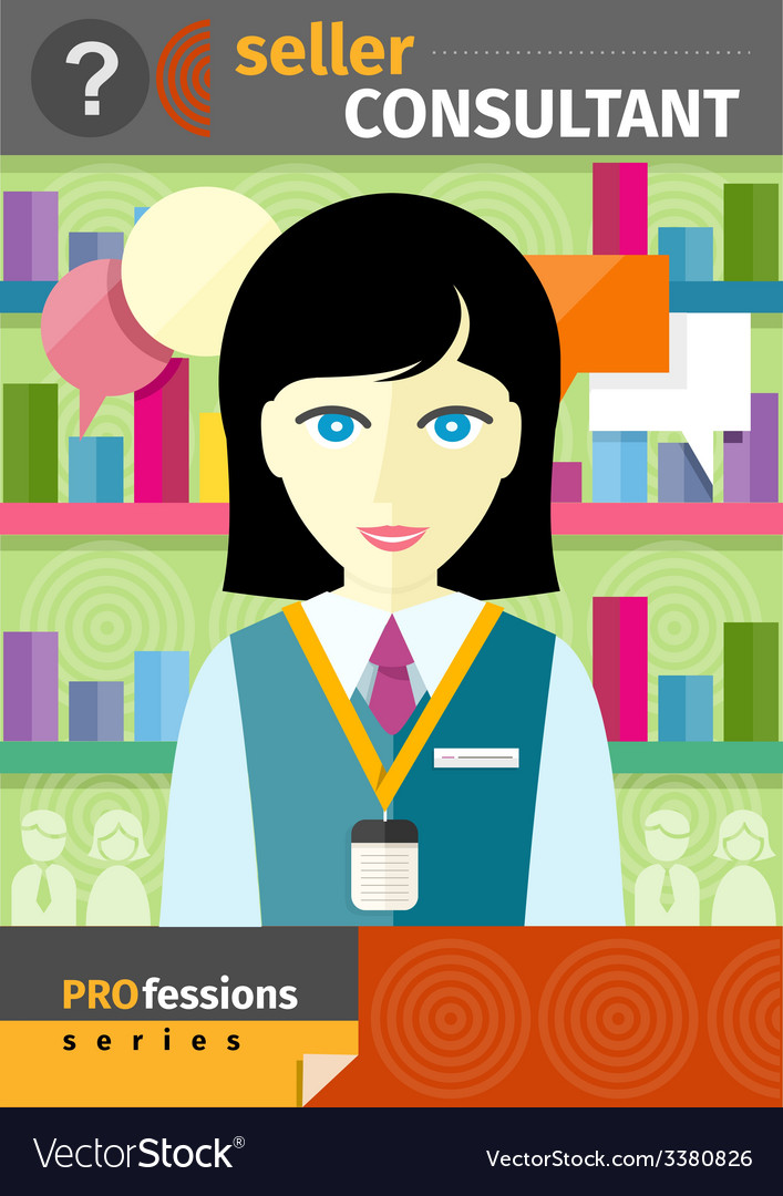 Female seller consultant behind counter in shop vector | Price: 1 Credit (USD $1)
