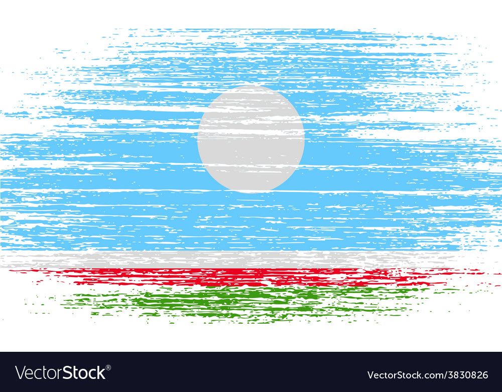 Flag of sakha yakutia republic russia with old vector | Price: 1 Credit (USD $1)