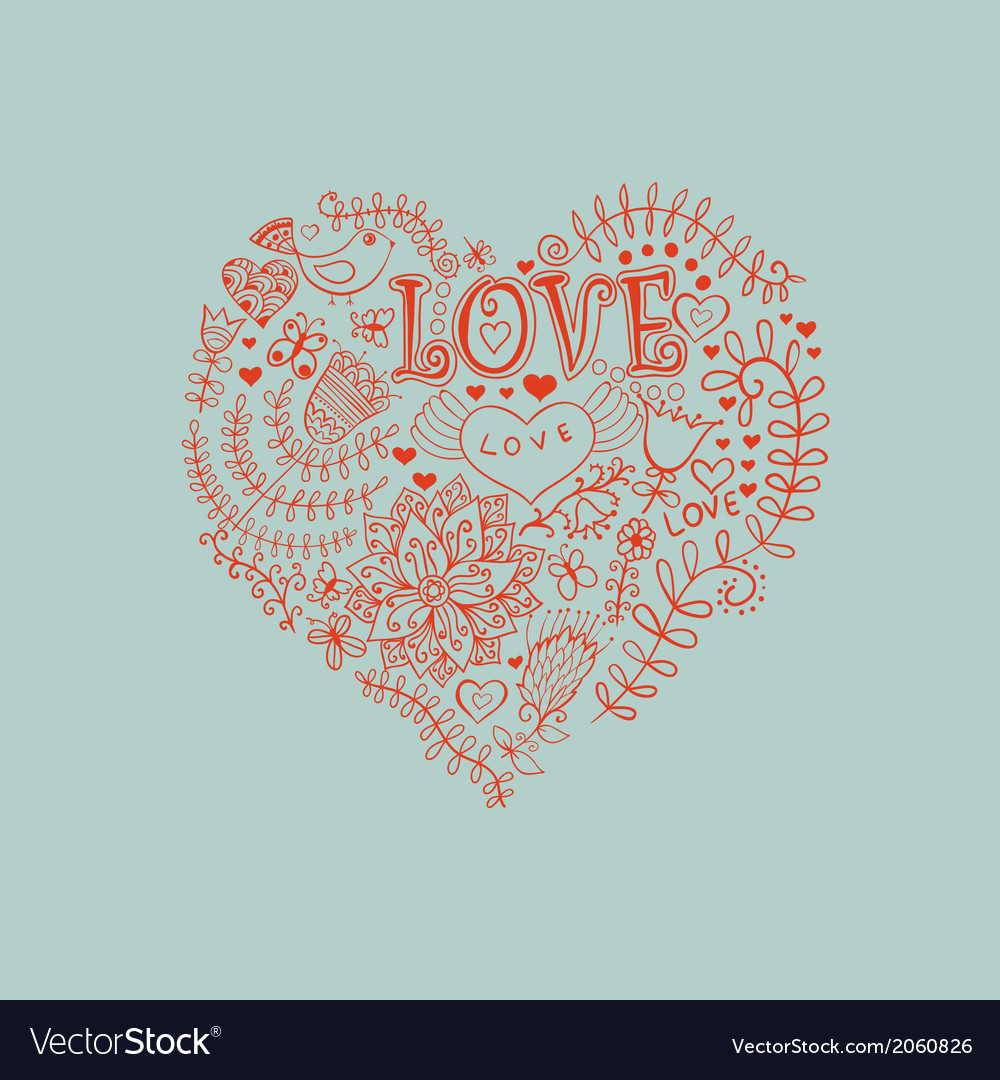 Floral heart heart made of flowersdoodle heart vector | Price: 1 Credit (USD $1)
