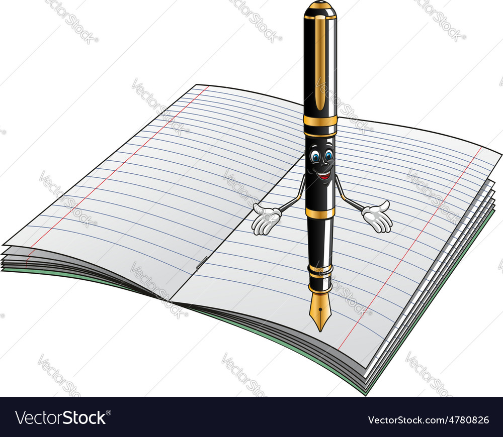 Fountain pen cartoon character with notebook vector | Price: 1 Credit (USD $1)