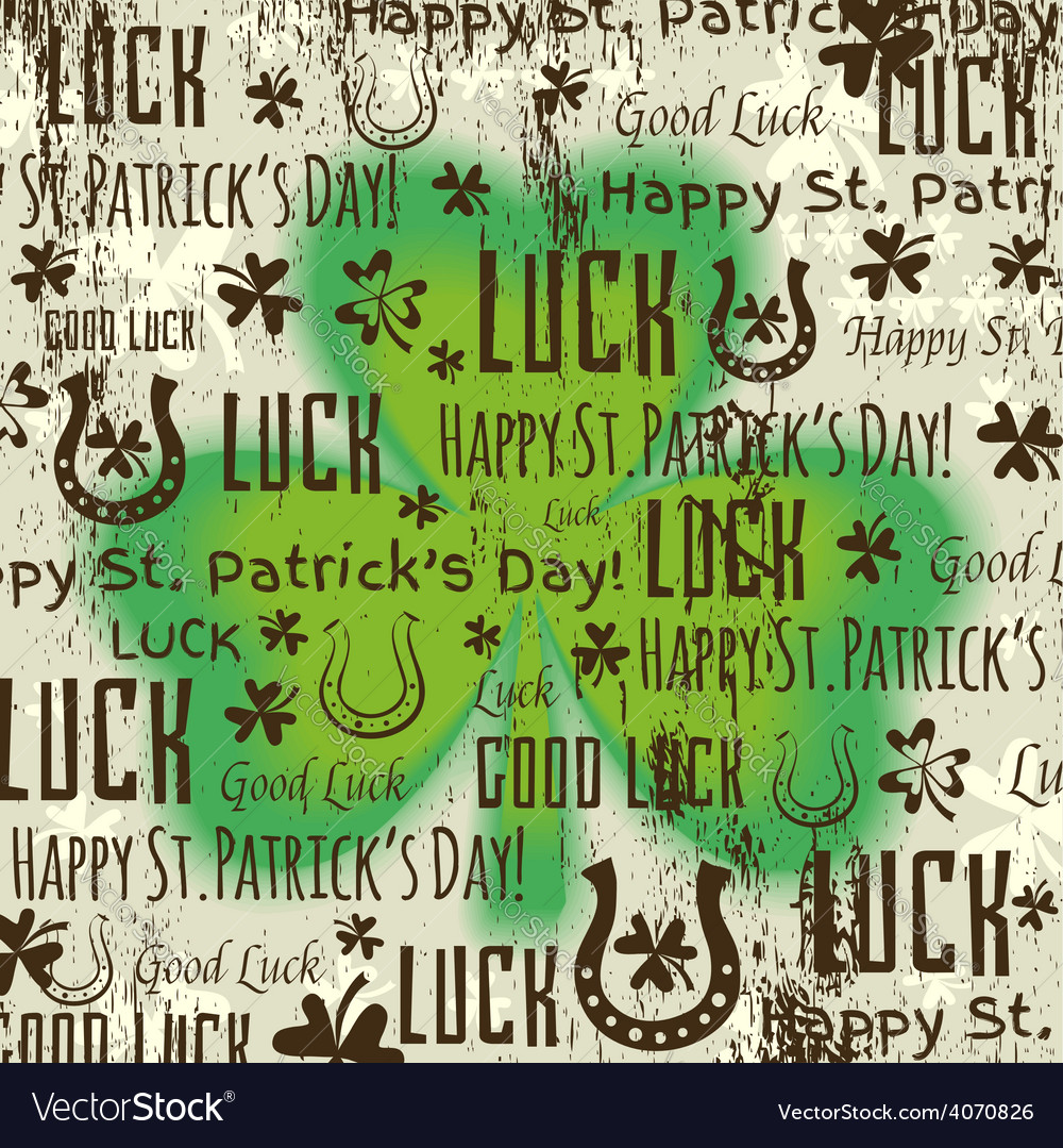 Grunge background for patricks day with shamrock vector | Price: 1 Credit (USD $1)