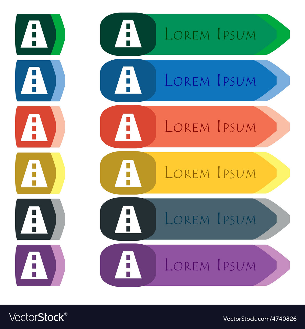 Road icon sign set of colorful bright long buttons vector   Price: 1 Credit (USD $1)