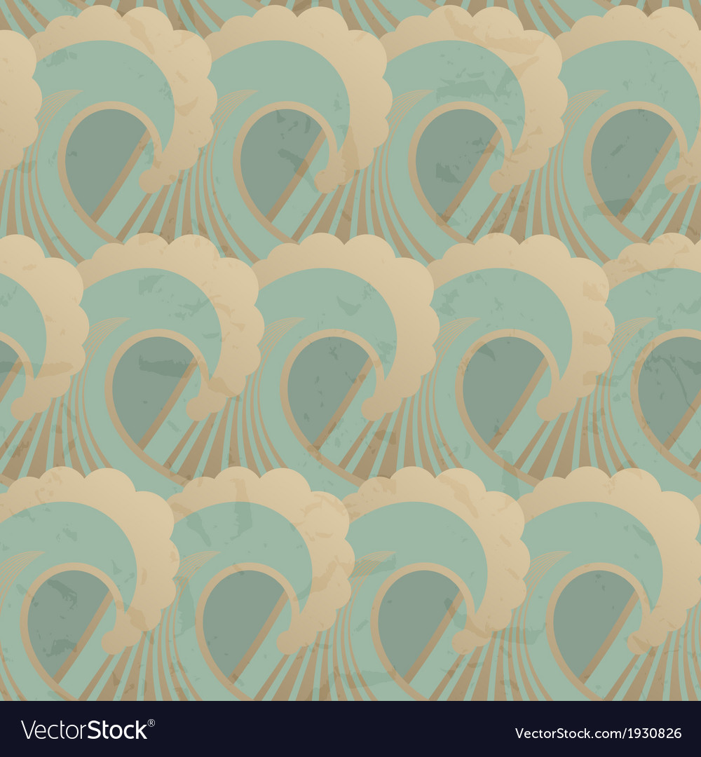Seamless pattern with waves and grunge elements vector | Price: 1 Credit (USD $1)