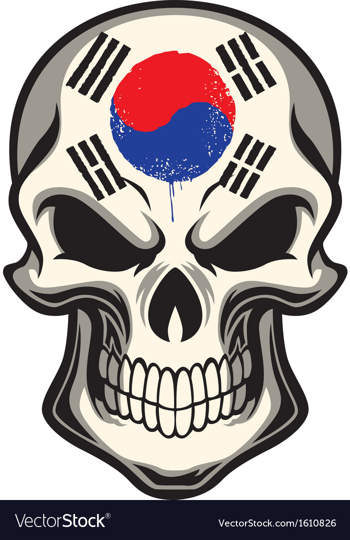 South korea flag painted on a skull vector | Price: 1 Credit (USD $1)