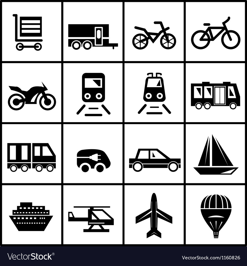 Transportation icons isolated on white vector | Price: 1 Credit (USD $1)