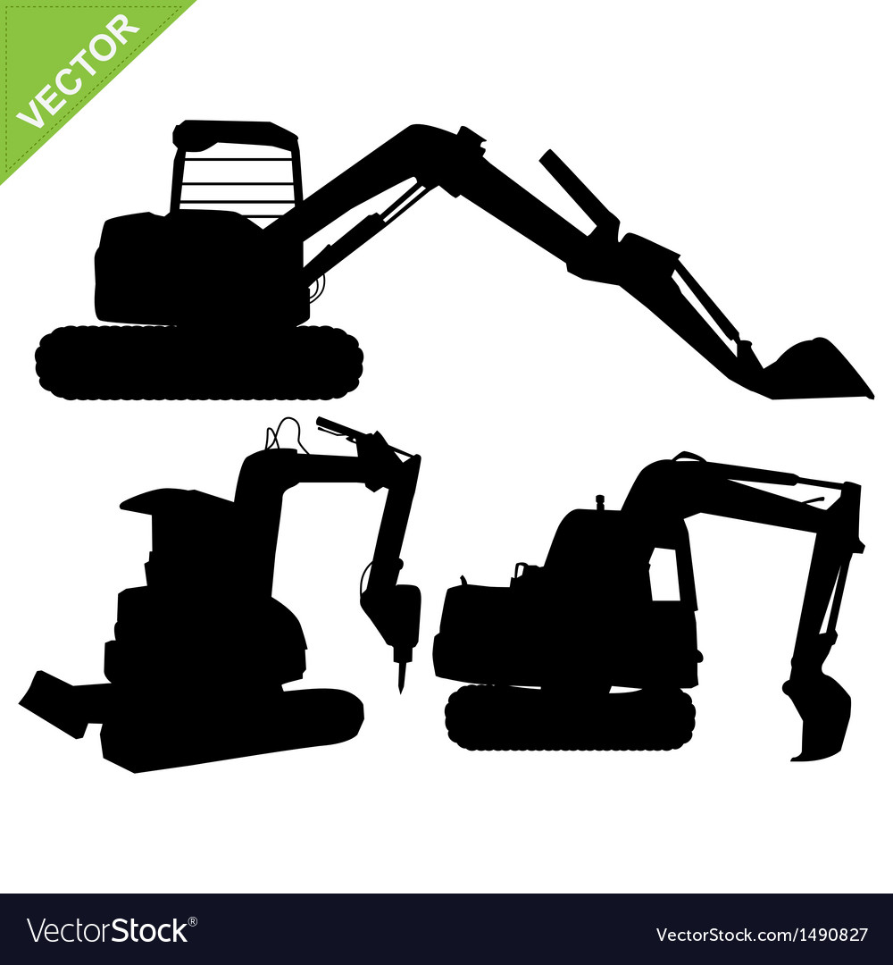 Backhoe silhouette vector | Price: 1 Credit (USD $1)