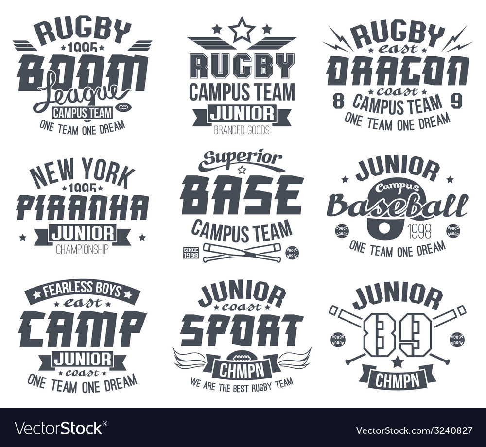 Baseball and rugby college team sport emblems vector | Price: 1 Credit (USD $1)
