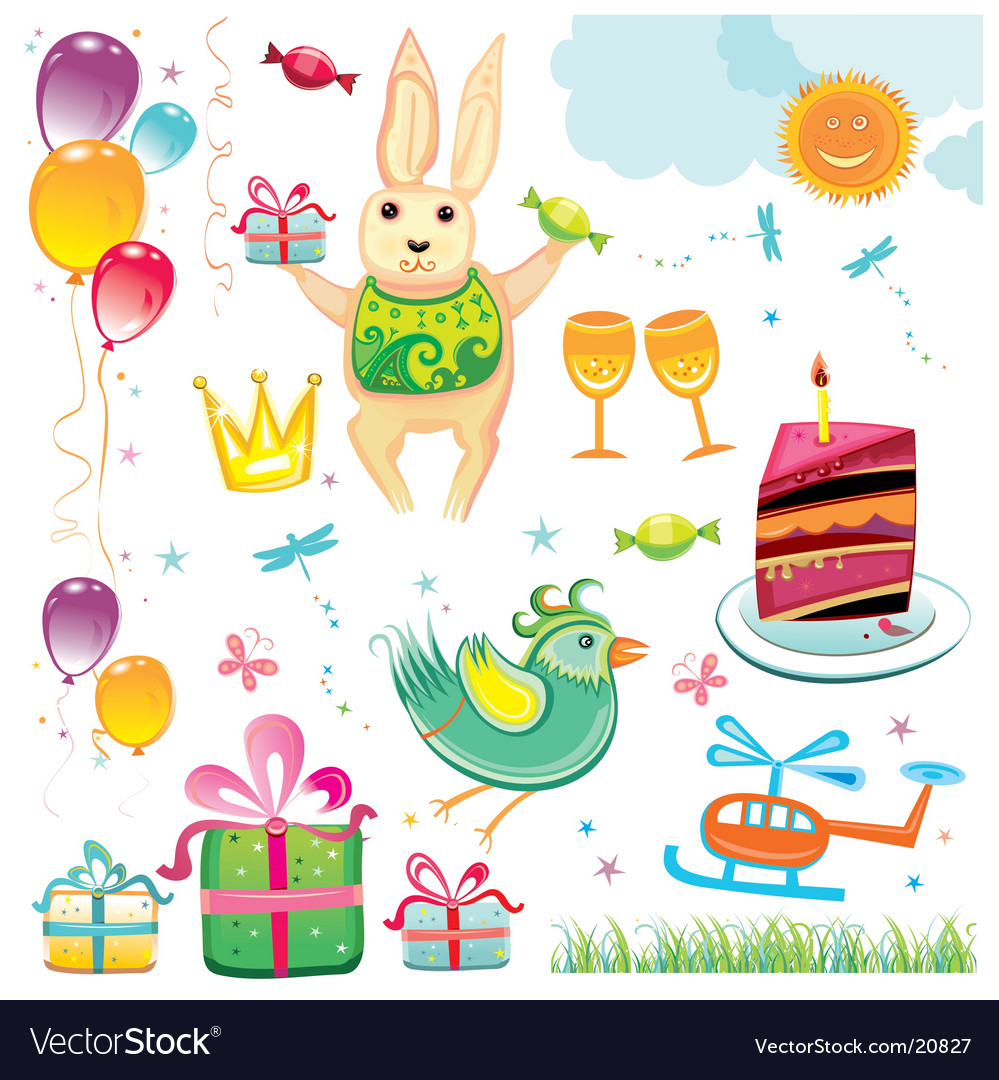 Birthday party set vector | Price: 3 Credit (USD $3)