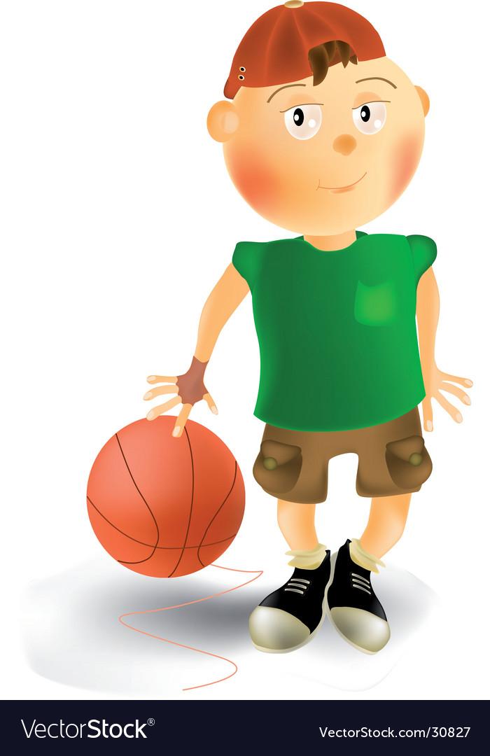 Boy and basketball ball vector | Price: 3 Credit (USD $3)
