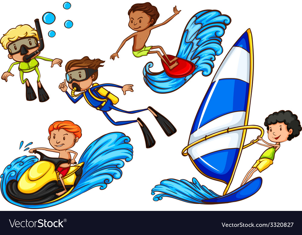 Boys enjoying the watersport activities vector | Price: 3 Credit (USD $3)