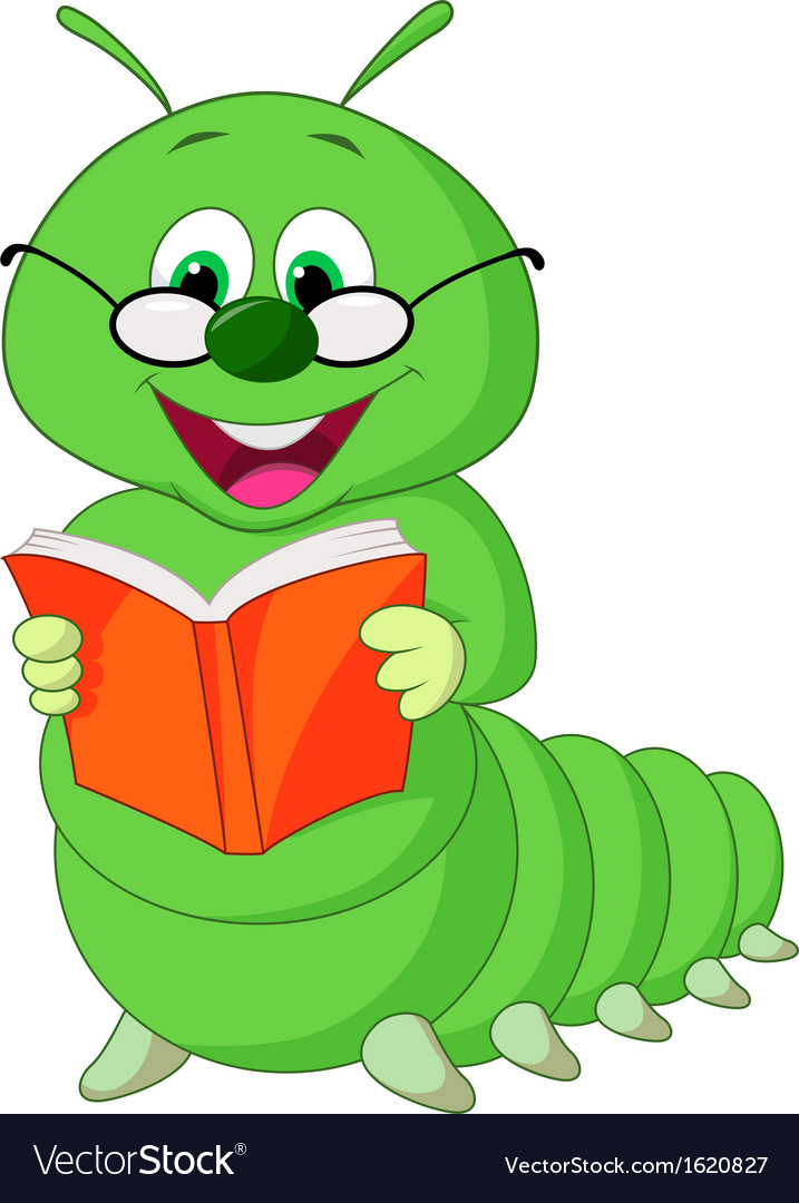Caterpillar reading book vector | Price: 1 Credit (USD $1)