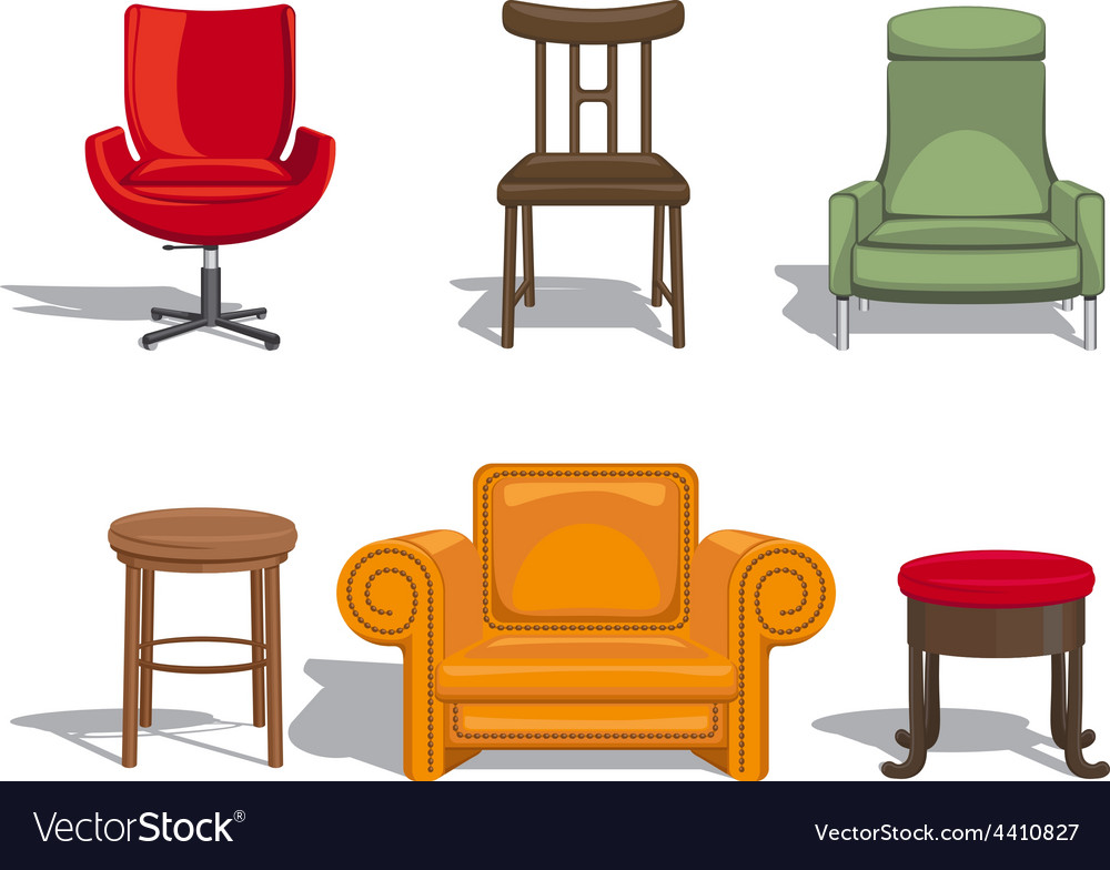 Chairs armchairs stools icons vector | Price: 1 Credit (USD $1)