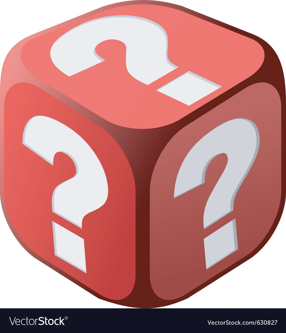 Dice with question marks vector | Price: 1 Credit (USD $1)
