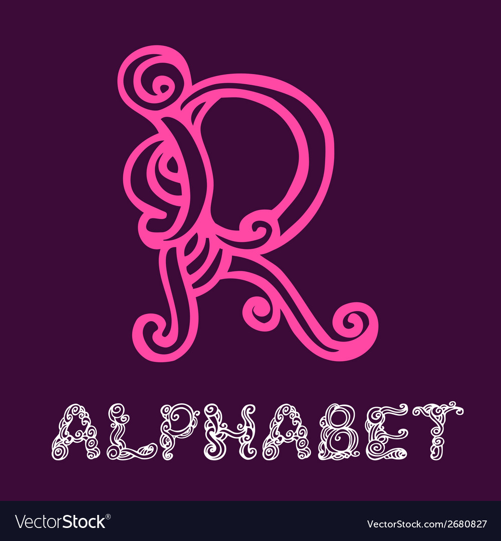 Doodle hand drawn sketch alphabet letter r vector | Price: 1 Credit (USD $1)
