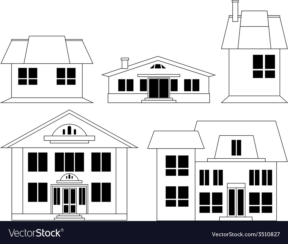 House silhouettes set vector   Price: 1 Credit (USD $1)