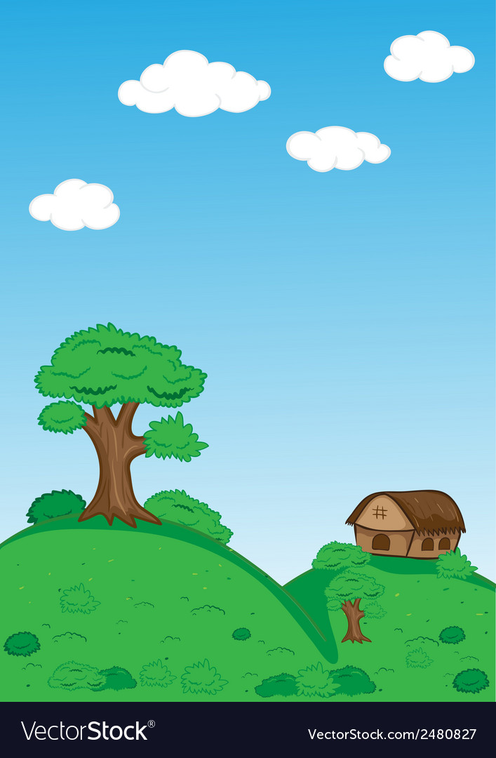 Landscape with trees clouds house and mountains vector | Price: 1 Credit (USD $1)