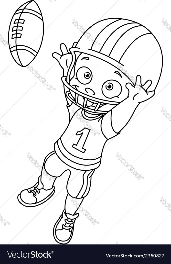 Outlined football kid vector | Price: 1 Credit (USD $1)