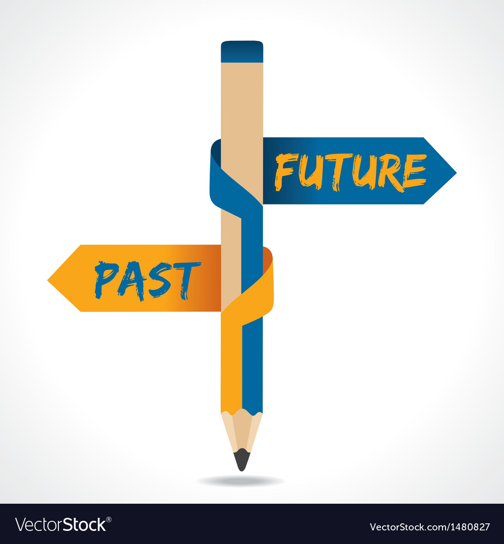 Past and future arrow in opposite of pencil vector | Price: 1 Credit (USD $1)
