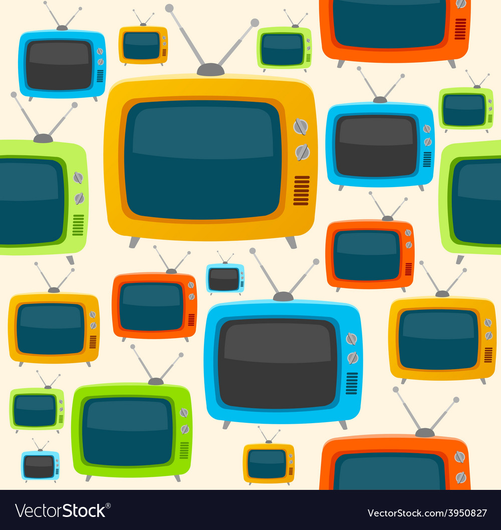 Retro tv seamless pattern flat design vector | Price: 1 Credit (USD $1)