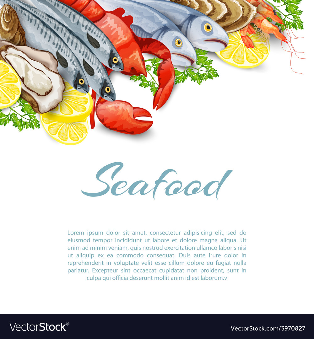 Seafood products background vector | Price: 1 Credit (USD $1)