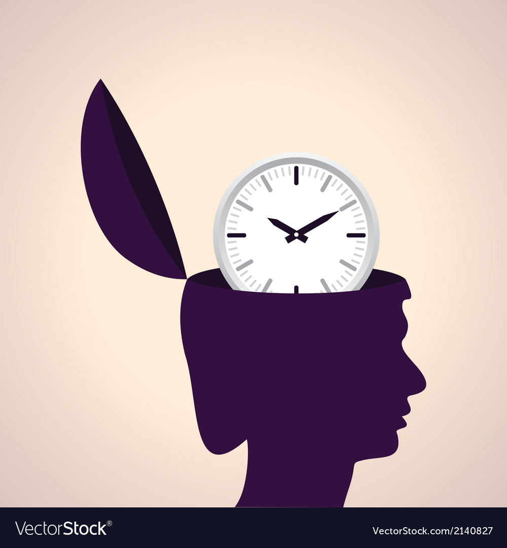 Thinking concept-human head with clock icon vector | Price: 1 Credit (USD $1)