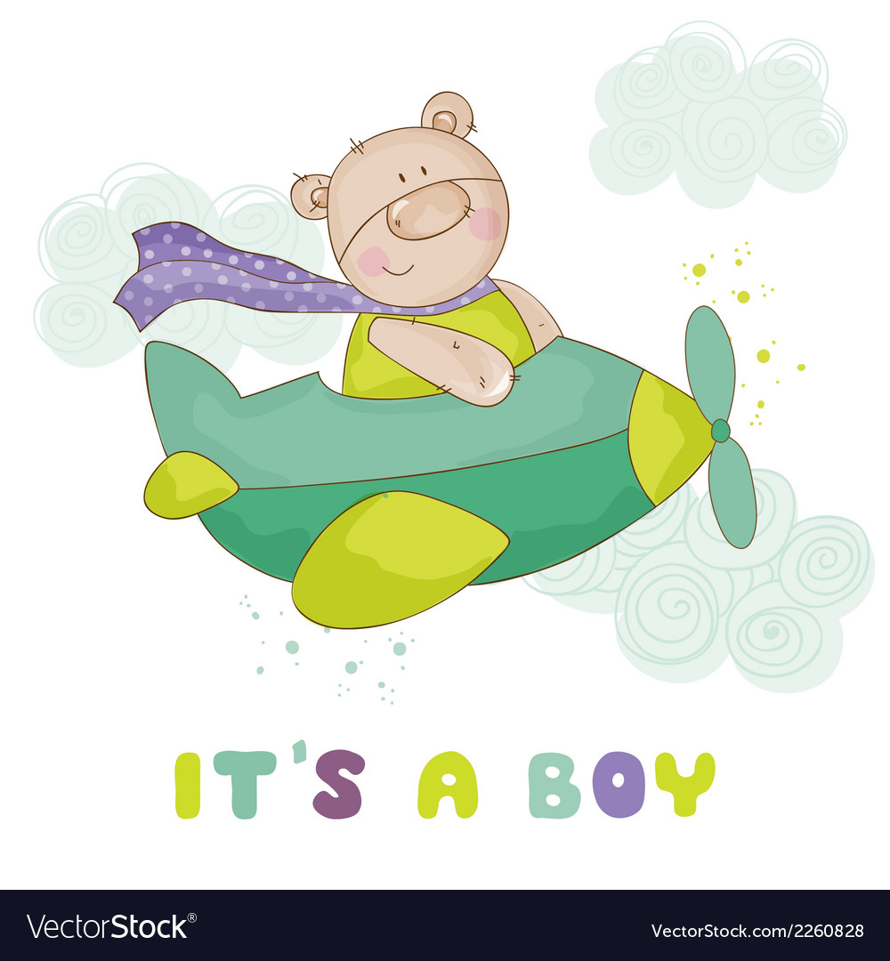 Baby bear on a plane - baby shower or arrival card vector | Price: 1 Credit (USD $1)