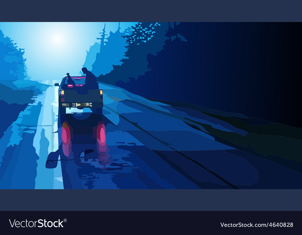Car pick up goes on night road vector | Price: 3 Credit (USD $3)