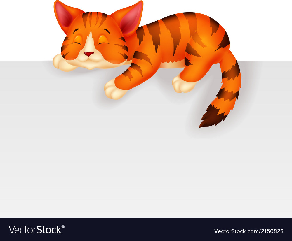 Cute cat cartoon sleeping vector | Price: 1 Credit (USD $1)