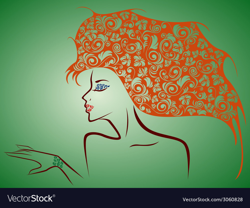 Female contour with floral elements over green vector | Price: 1 Credit (USD $1)