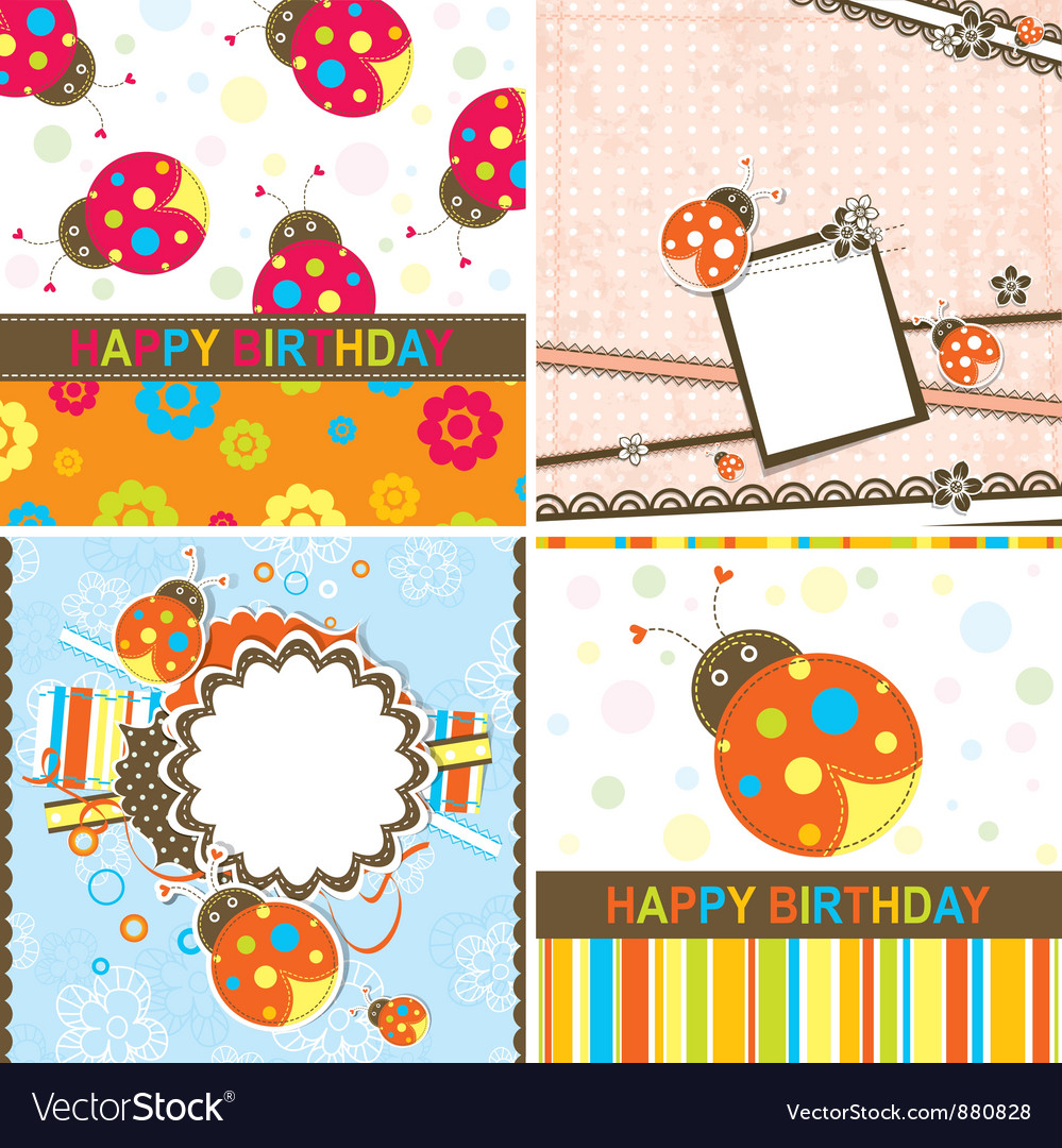 Ladybug birthday cards set vector | Price: 1 Credit (USD $1)