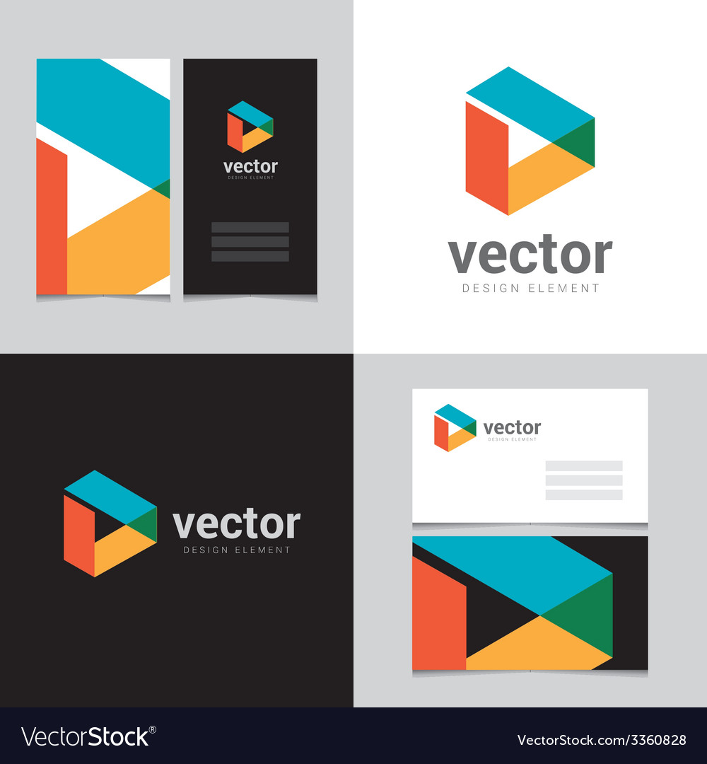 Logo design element with two business cards - 08 vector | Price: 1 Credit (USD $1)