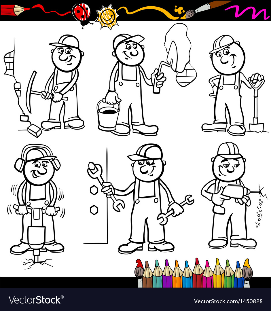 Manual workers set for coloring book vector | Price: 3 Credit (USD $3)