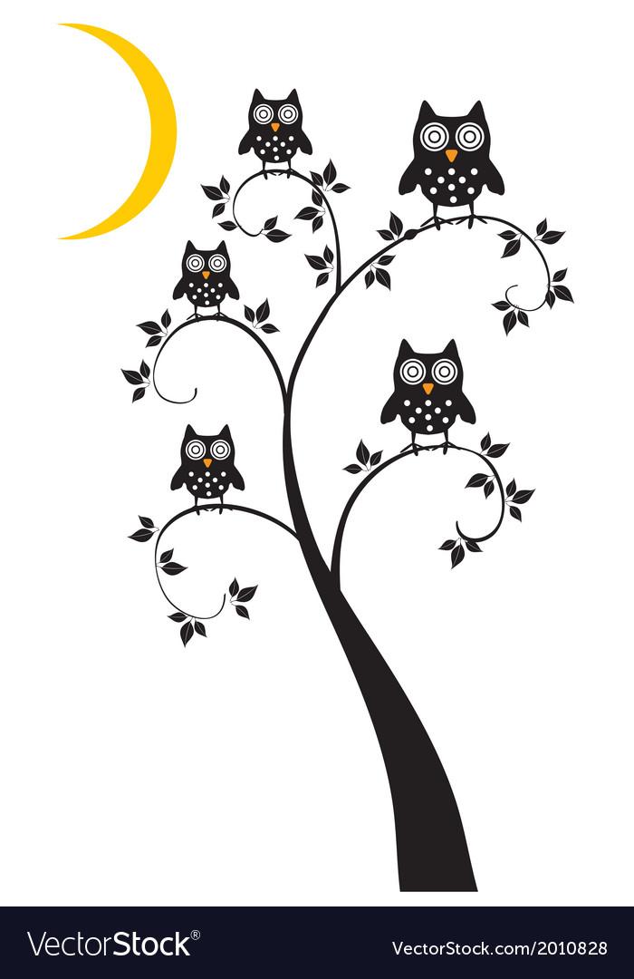 Owl family tree vector | Price: 1 Credit (USD $1)