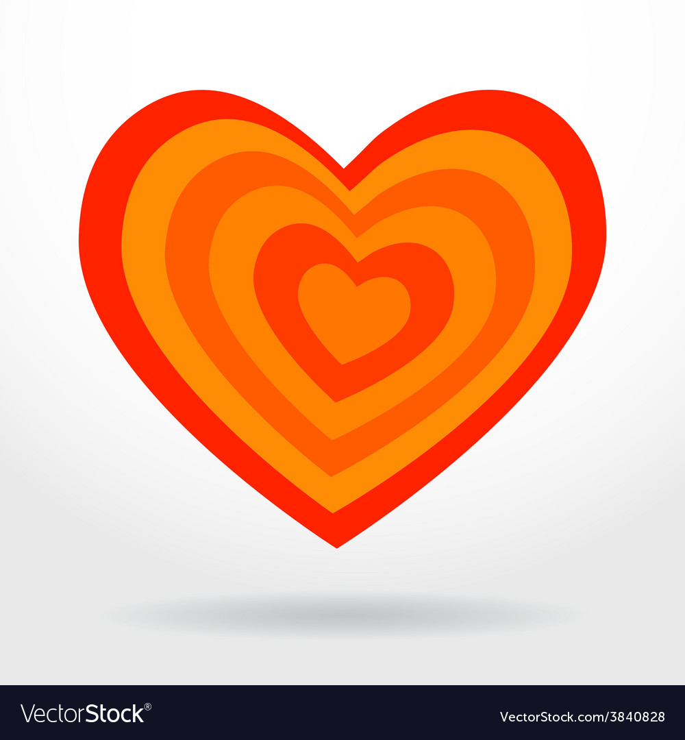Red orange striped heart on white background vector | Price: 1 Credit (USD $1)