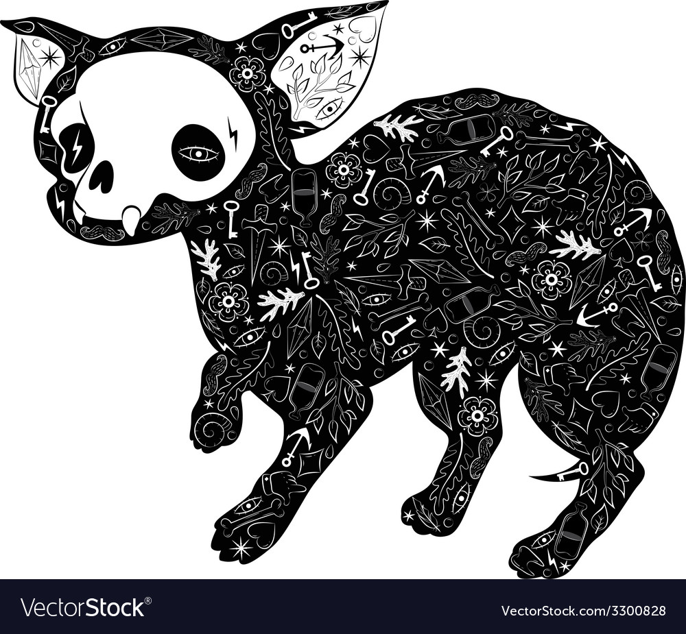 Small dog tattoo vector