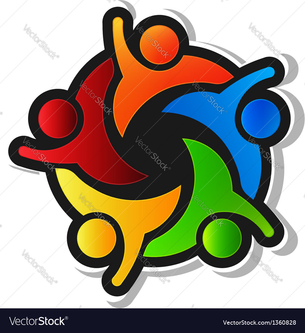 Team hi5 with black background logo design element vector | Price: 1 Credit (USD $1)