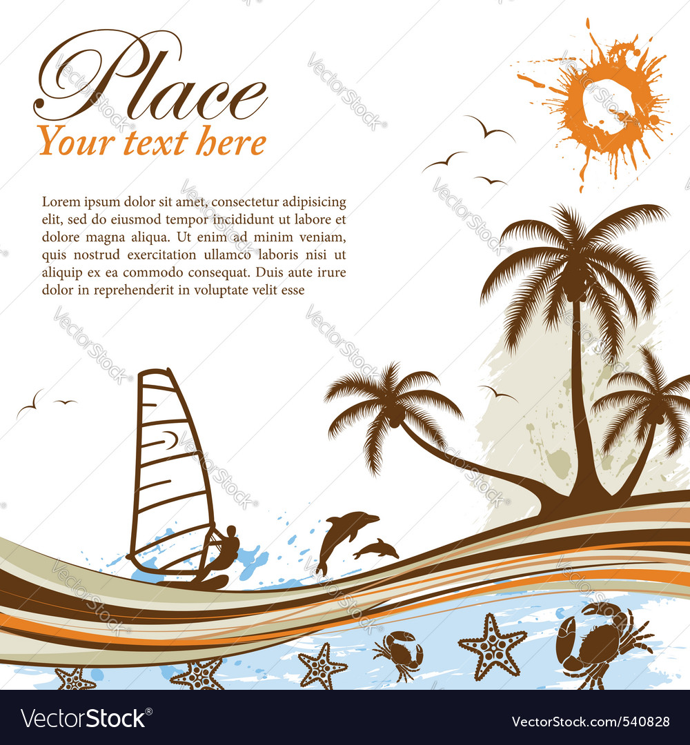 Wind-surf grunge summer background vector | Price: 1 Credit (USD $1)