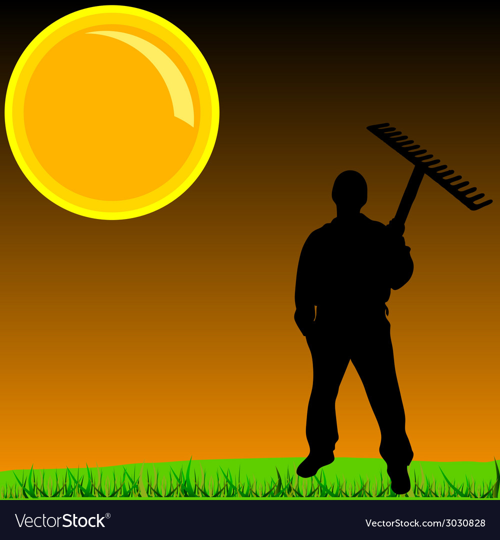 Worker on a grass vector | Price: 1 Credit (USD $1)