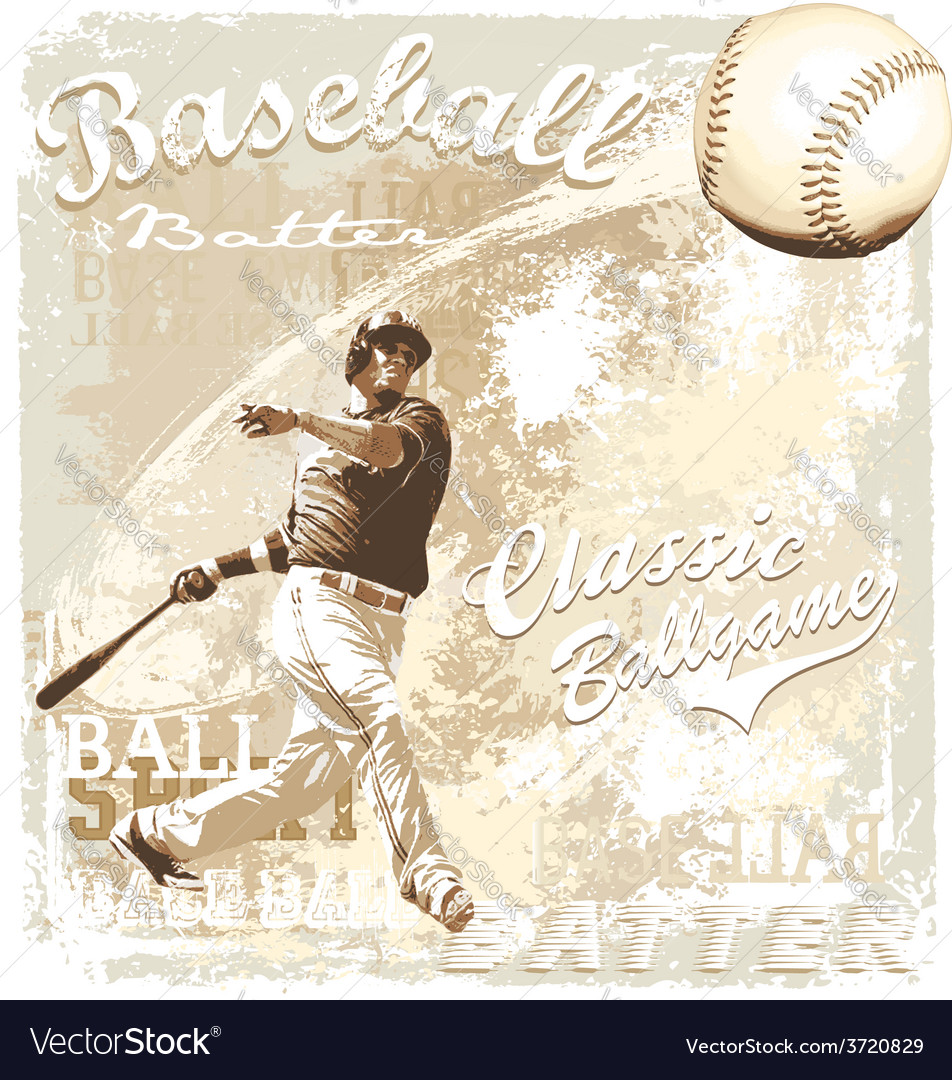 Batting baseball vector